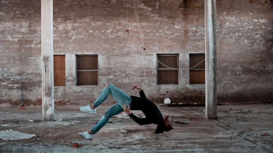woman falling forward